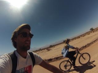 Biking.