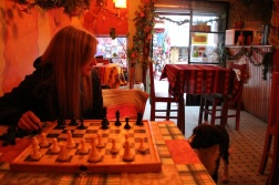 Dinner and chess + dog.