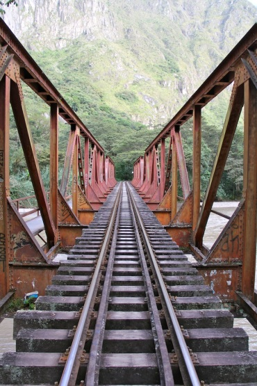 Walk along train tracks to Aguas Calientes, Peru
