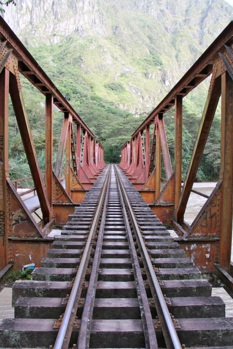 Walk along train tracks to Aguas Calientes, Peru