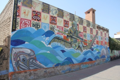 Caballito de totora painting, Huanchaco, Peru