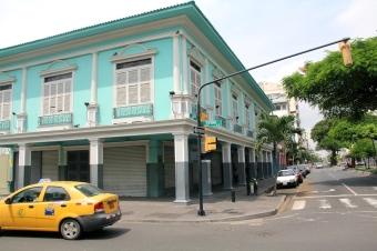 Blue building.