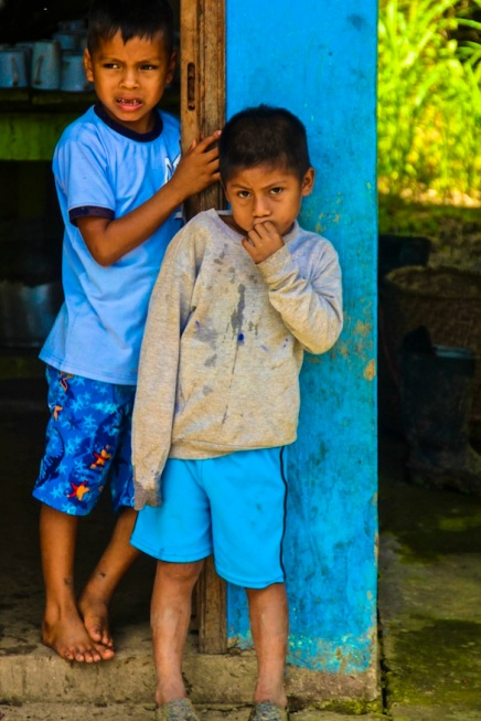 Local kids at school. Amazon jungle in Misahualli, Ecuador