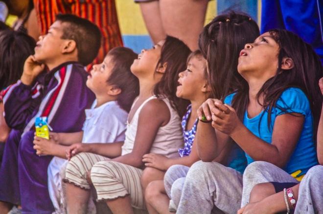 Local kids at school. Amazon jungle in Misahualli, Ecuador