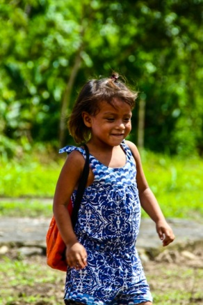 Local girl at school. Amazon jungle in Misahualli, Ecuador