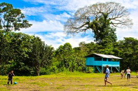 Playing with kids at local school. Amazon jungle in Misahualli, Ecuador