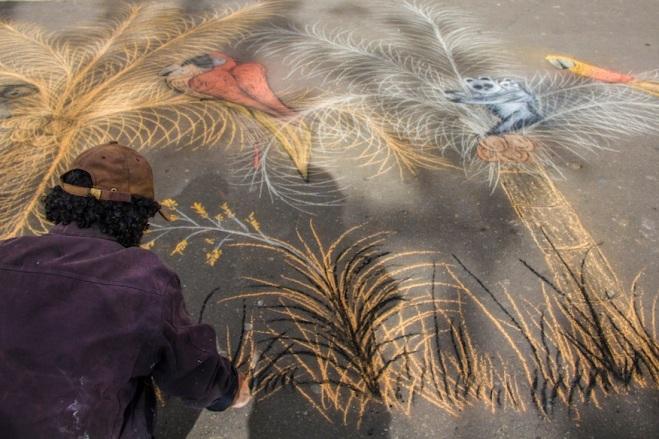 Street chalk art in Bogota, Colombia