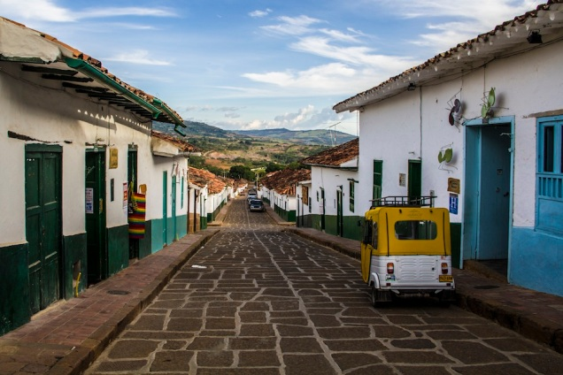 Quiet street in Barichara, Colombia