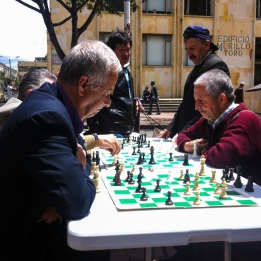 Men playing chess in Bogota, Colombia
