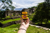 Having Vegemite at North Group temple, Palenque, Mexico